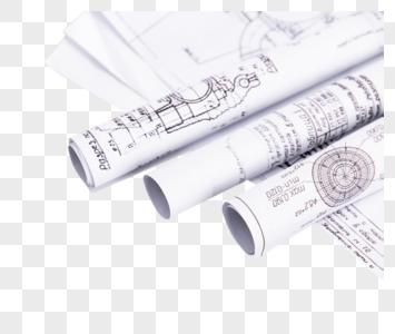 工程图纸做图工具平铺在桌面上图片