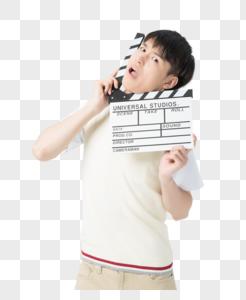 男性学生形象手持场记板艺术生图片