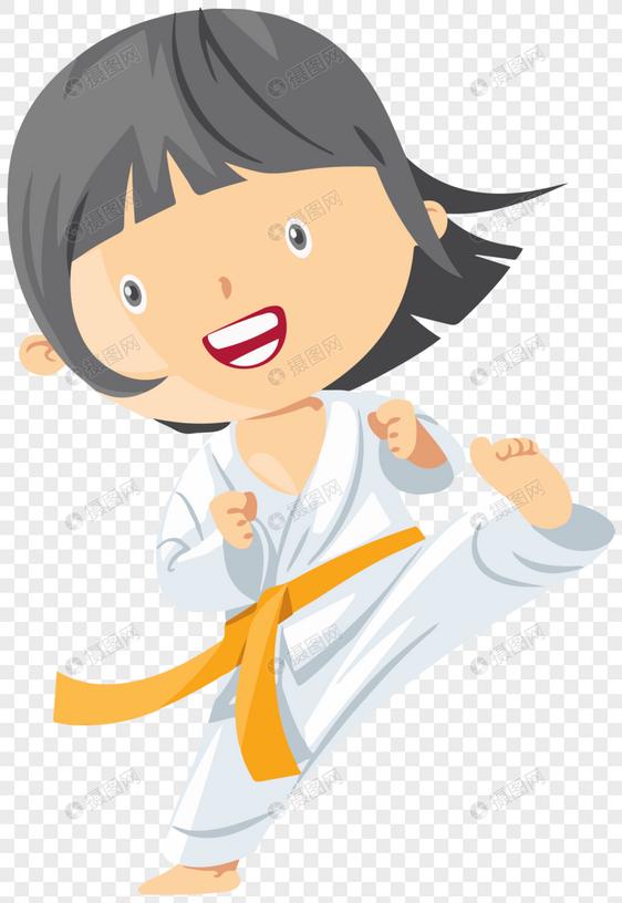 卡通女孩跆拳道图片