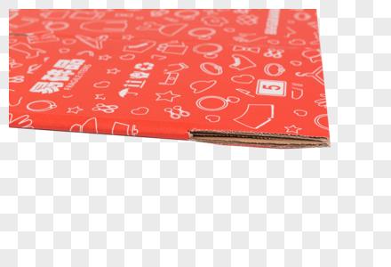 物流快递红色盒子细节特写图片