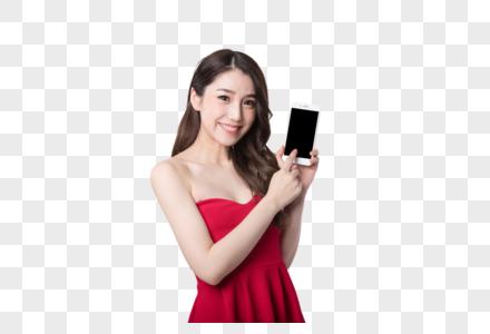新春美女手拿手机图片