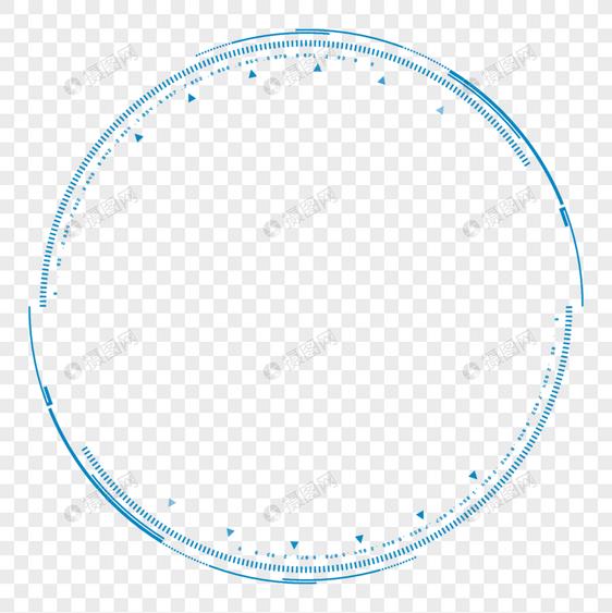 蓝色科技感边框元素素材png格式_设计素材免费下载