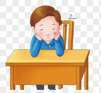 上课偷懒睡觉的男孩图片