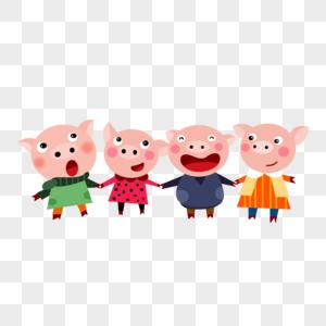 猪年猪形象全家福图片