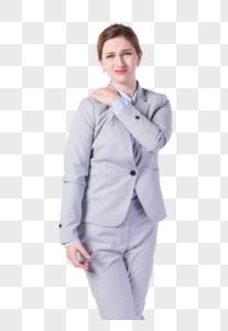 国外商务女性肩膀痛图片