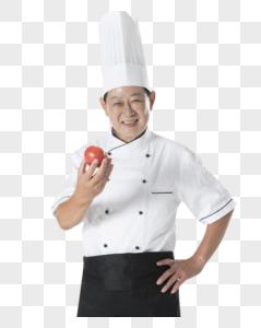 厨师拿西红柿图片