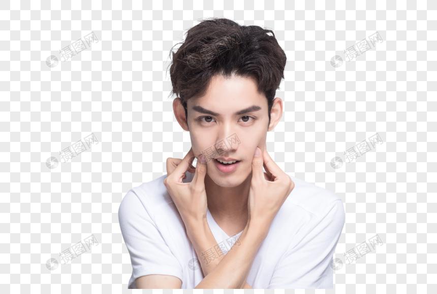 青年男士面部展示图片