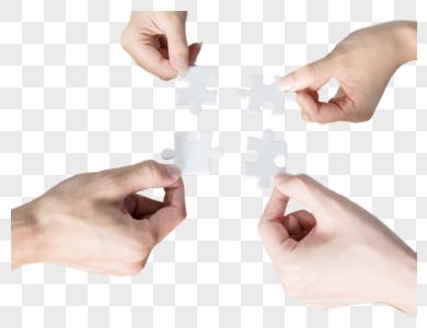 商务团队拼图凝聚力团结图片