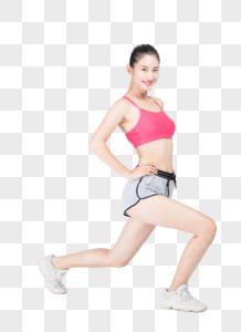 运动美女热身拉伸图片