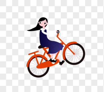 骑车的女孩图片
