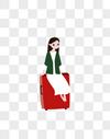 行李箱女孩图片