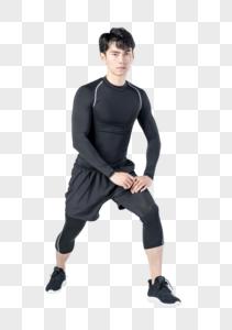 运动男性人像拉伸动作图片
