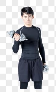 运动男性人像举哑铃图片