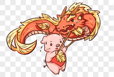 新年猪舞龙图片