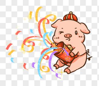 新年猪彩带庆祝图片