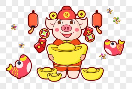 新年猪抱金元宝图片
