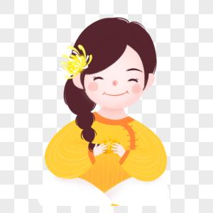 吃菊花糕女孩图片