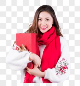 女性手拿礼物盒图片