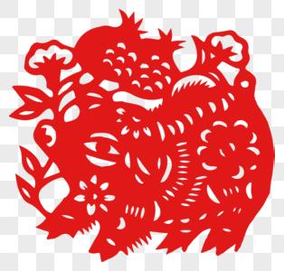 春节猪剪纸图片