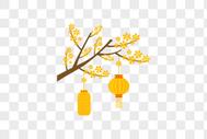 黄色梅花树和灯笼图片
