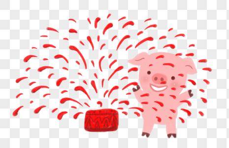 新年猪放烟花图片