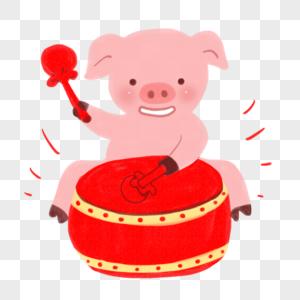 新年猪打鼓形象图片