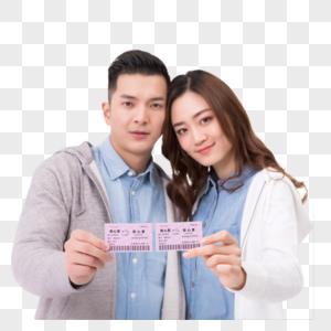 情侣手拿车票旅行图片