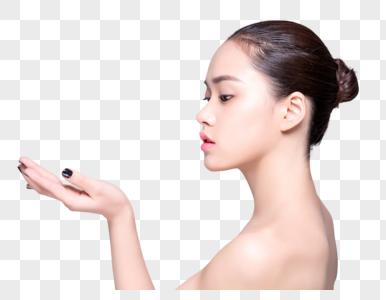 商业精修盘发美女侧面妆容图片