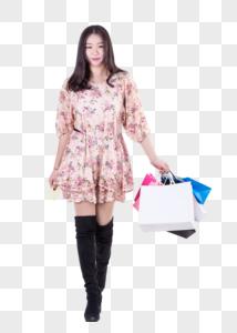 甜美可爱女孩购物消费图片