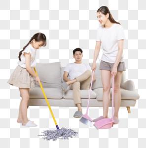 幸福家庭打扫图片