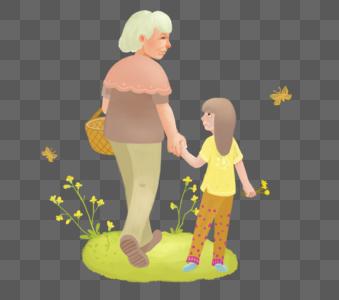 奶奶和孙女图片