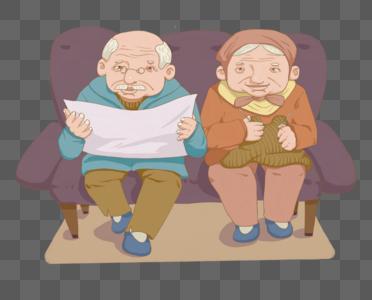 沙发上的老夫妻图片