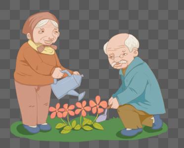 种花的老夫妇图片