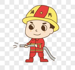 手绘消防人员图片
