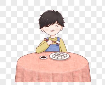 吃饺子的男孩图片