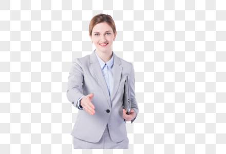 国外女性微笑握手图片