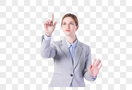 国外女性科技点击手势图片