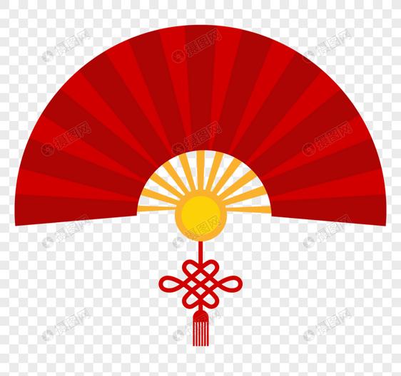 红色中国风扇子装饰元素素材格式_设计素材免费下载