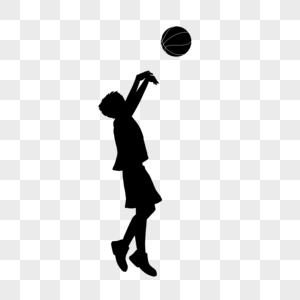 打篮球的人剪影图片