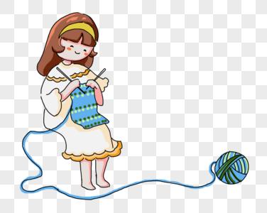手绘织围巾的女孩图片