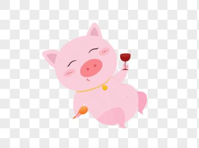 喝红酒的猪图片