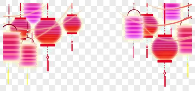 桃红灯笼装饰素材图片