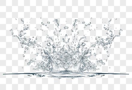白色清新水花效果元素图片