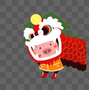 舞狮子的小猪图片