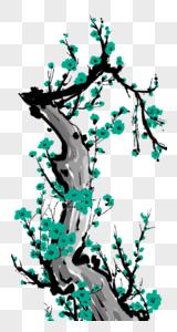 绿色中国风梅花图片
