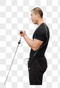 健身房强壮男人力量训练图片