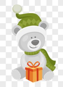 绿色帽子小熊图片