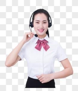 商业亲和美女客服手按耳机接听图片
