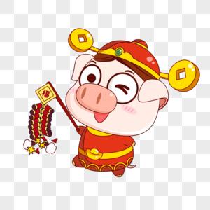 猪小福放鞭炮图片