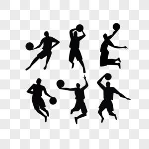 篮球运动员剪影图片